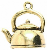 Shipwreck Beads Pewter Tea Pot Charm, Antique Gold, 19 by 19mm, 2-Piece