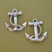 BeadsTreasure 5 Pcs Anchor Pendant Charm Antiqued Silver Tibetan Style Jewellery Making Findings.