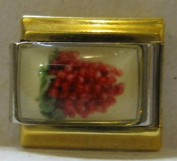 9mm Italian Charm... with Red Grapes... with gold coloured rails