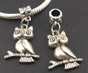 Silver Owl On Branch Dangle Charm Bead for Bracelet or Necklace
