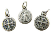 Jewellery Making Charms Lot of 3 Saint St Benedict of Nursia 1.3cm Silver Mini Medal