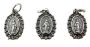 Jewellery Making Charms Lot of 3 Our Lady of Grace 1.3cm Silver Mini Miraculous Medal