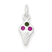 Sterling Silver Enamelled Ice Cream Cone Charm. Metal Wt- 0.4g