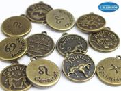 Jewellery Making Antique Brass Bronze Vintage Style Round Charm Zodiac Set of 12