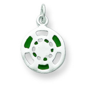 Silver Green/White Enamelled Poker Chip Charm. Metal Weight- 1g.