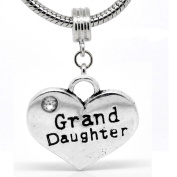 """ Grand Daughter Heart Dangle Charm "" W/crystal Stone Antique'd Silver Bead Charm Spacer Pandora Troll Chamilia Biagi Bead Compatible"