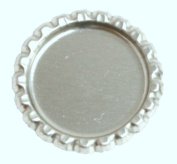 100 Flattened Chrome Bottle Caps Silver Bottlecaps Flat