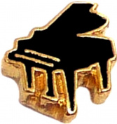 Black Grand Piano Floating Locket Charm