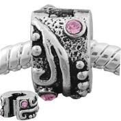European Style Pink Rhinestone Wavy Clip Lock Stopper Bead Charm