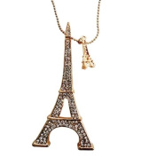 LIGHTAHEAD® BEAUTIFUL EIFFEL TOWER STONE STUDDED PENDANT & CHAIN JEWELLERY GREAT GIFT