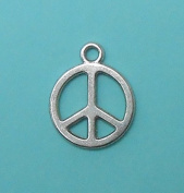 10 Peace Sign Charms Tibetan Silver Tone