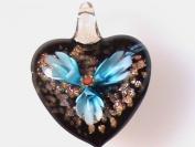 Gold Foil Heart Lampwork Murano Glass Blue Flower Ribbon Gift Necklace Pendant