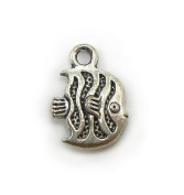 10 Angel Fish Charms Tibetan Silver Tone tropical fish charm