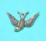 10 Bird Charms Tibetan Silver Tone swallow charm