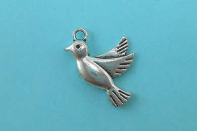 10 Bird Charms Tibetan Silver Tone