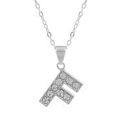 "Rhinestone Charms Necklace with Eyelet, Letter ""F"""