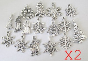 32PCS Antiqued silver Metal Christmas charms tree santa snowflake