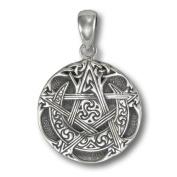 Small Sterling Silver Moon Pentacle Pentagram Pendant by Dryad Design