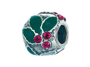 Zable (tm) Sterling Silver Holly With Crystal Berries Pandora Compatible Bead / Charm