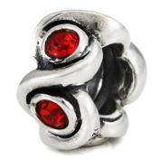 Ohm July BIRTHSTONE Red Ruby Crystal European Bead