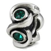 Ohm May BIRTHSTONE Green Emeral Crystal European Bead