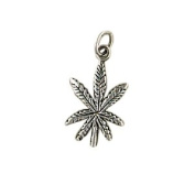 Sterling Silver Pot Leaf Necromance Pendant Necklace Charm Women's Men's Spiritual Religious Wiccan Wicca Pagan NEW AGE Jewellery