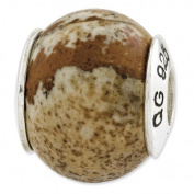 Sterling Silver Reflections Picture Jasper Natural Stone Bead Charm - JewelryWeb