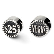Sterling Silver Reflections 2-sided Vegas Bead Charm - JewelryWeb