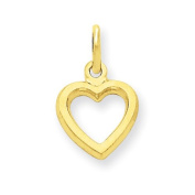 14k Yellow Gold Solid Polished Flat-Backed Heart Pendant. Metal Wt- 0.6g