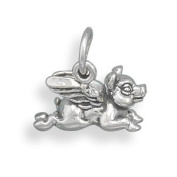 Oxidised Sterling Silver Flying Pig Charm Measures 17mmx11mm - JewelryWeb