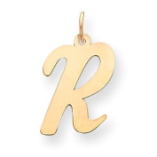 14k Yellow Gold Large Script Initial R Charm. Gold Wt- 0.55g.