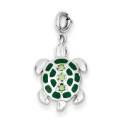 Sterling Silver Green Preciosa Crystal and Enamelled Turtle Pendant