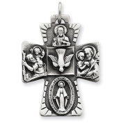 Sterling Silver Antiqued 4-way Medal Pendant. Metal Wt- 6.09g