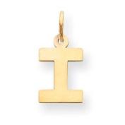 14k Small Block Intial I Charm - JewelryWeb