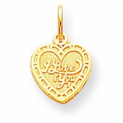 Genuine 10K Yellow Gold I Love You Heart Charm 0.7 Grammes Of Gold