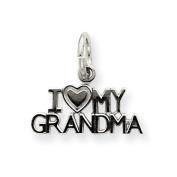 14k White Gold I Love My Grandma Charm - Measures 13.5x14.7mm - JewelryWeb