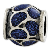 Sterling Silver Reflections Blue Enamel With Sparkles Bead Charm - JewelryWeb