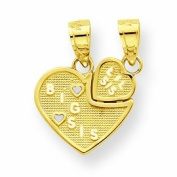 Genuine 10K Yellow Gold Big Sis, Lil Sis Break-Apart Heart Charm 0.9 Grammes Of Gold