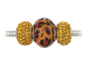 Zable (tm) Sterling Silver Leopard Print Trio Bead Set