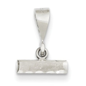 14k White Gold Small Diamond-Cut Number Top Charm - Measures 14.7x11.3mm - JewelryWeb