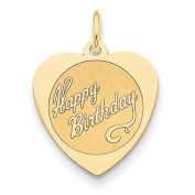 14k Yellow Gold Happy Birthday Heart Disc Pendant. Metal Wt- 0.97g
