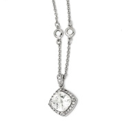 Sterling Silver Rose-cut CZ Square 46cm Necklace