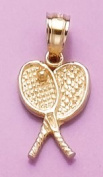 Gold Sports Charm Pendant Tennis Racquets Crossed W Ball