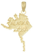 Gold Charm Alaska Map Bear