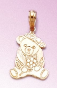 Gold Animal Charm Pendant Teddy Bear Dressed Up