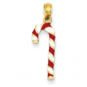 14k Yellow Gold Enamelled Candy Cane Charm Pendant.