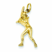 Genuine 14K Yellow Gold Female Baseball Batter Charm 1 .2 Grammes Of Gold