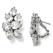 Sterling Silver CZ Fancy Omega Back Earrings