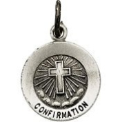 14K White Gold 12Mm Confirmation Medal With Cross
