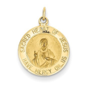 14k Yellow Gold Sacred Heart of Jesus Medal Charm. Metal Wt- 1.26g